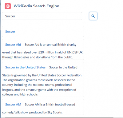 Develop WikiPedia Search Engine Component using REST API